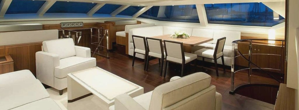 Blue Papillon yacht interior