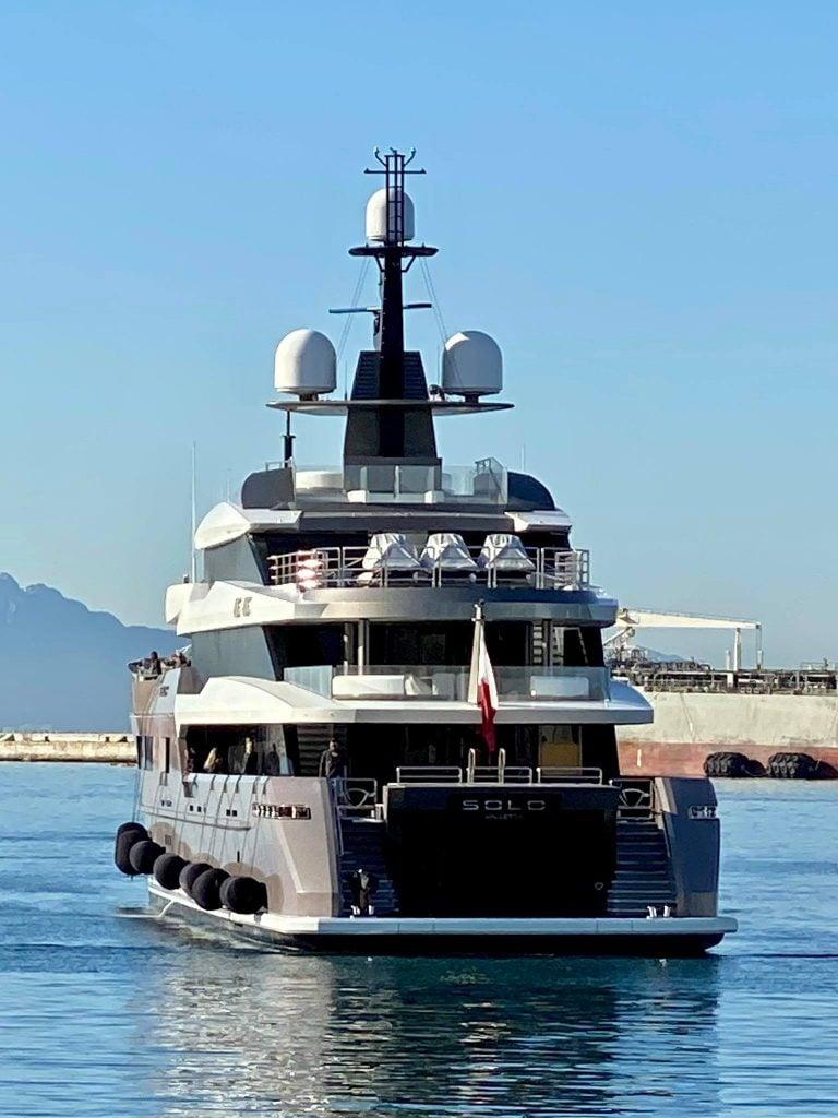 Carlo De Benedetti's yacht Solo in Gibraltar