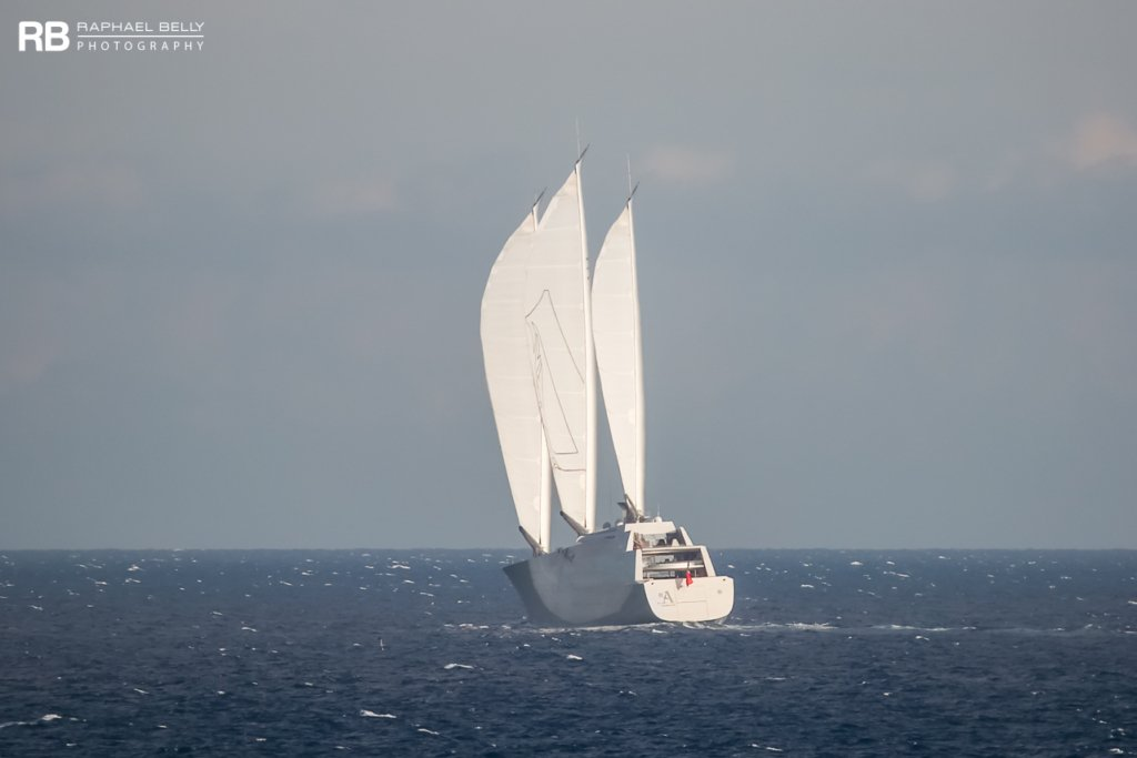 Sailing Yacht A sailing with full sails up